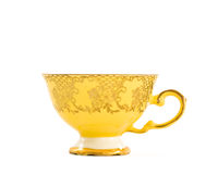 Weinlese gelber Teacup Stockbilder