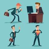 Weinlese-Geschäftsmann Characters Set Icon auf stilvollem Stockfotografie
