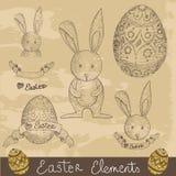 Weinlese-glückliches Ostern-Elementset Stockfotografie