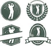 Weinlese-Golf-Embleme Stockfoto