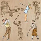 Weinlese-Golf und Golfspieler - übergeben Sie gezogene Vektoren, freehands vektor abbildung