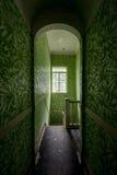 Weinlese-grüne Tapete in der Halle und im Treppenhausschacht - verlassene Villa Stockfoto