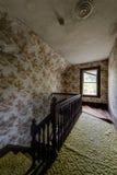 Weinlese-grüner Teppich u. Brown-Tapete - verlassenes Haus Lizenzfreie Stockbilder