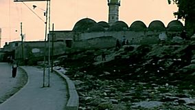 Weinlese-große Moschee von Gaza stock video footage