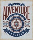 Weinlese-große Abenteuer-Typografie Stockfotos