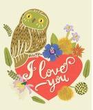 Weinlese-Gruß-Karte mit netter Eule Herz und Blumenkranz Schöner Hintergrund Kann als Grußkarte verwendet werden Stockfoto