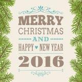 Weinlese-Grußkarte der frohen Weihnachten vektor abbildung