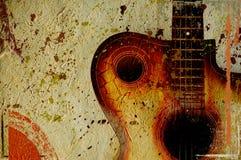Weinlese grunge Hintergrund mit Gitarre Lizenzfreie Stockbilder