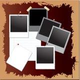 Weinlese grunge Hintergrund mit polaroidfeldern Lizenzfreies Stockfoto
