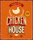 Weinlese-Hühnerhaus-Plakat. Lizenzfreie Stockfotos