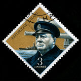 Weinlese-Haiti-Briefmarke mit Porträt von Winston Churchill Lizenzfreie Stockfotos