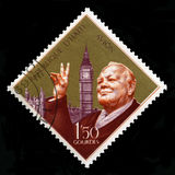 Weinlese-Haiti-Briefmarke mit Porträt von Winston Churchill Lizenzfreies Stockfoto