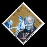 Weinlese-Haiti-Briefmarke mit Porträt von Winston Churchill Stockfoto