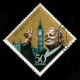 Weinlese-Haiti-Briefmarke mit Porträt von Winston Churchill Lizenzfreies Stockbild