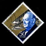 Weinlese-Haiti-Briefmarke mit Porträt von Winston Churchill Stockbild