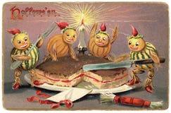 Weinlese-Halloween-Postkarte Lizenzfreies Stockbild