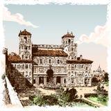 Weinlese-Hand gezeichnete Ansicht des Landhauses Borghese in Rom Stockfotos