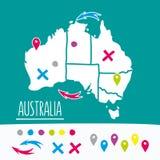 Weinlese-Hand gezeichnete Australien-Reisekarte mit Stiften Stockfoto