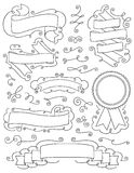 Weinlese-Hand gezeichnete Gestaltungselemente neun Stockfoto