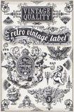 Weinlese-Hand gezeichnete grafische Fahnen und Aufkleber Stockfoto