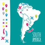Weinlese-Hand gezeichnete Südamerika-Reisekarte mit Stockfotografie