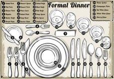 Weinlese-Hand gezeichnetes Gedeck-formales Abendessen lizenzfreie abbildung