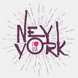 Weinlese-Hand mit Buchstaben gekennzeichnetes strukturiertes New York City t Lizenzfreie Stockfotografie