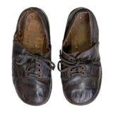 Weinlese-handgemachte Kind-` s Schuhe auf Weiß lizenzfreies stockbild
