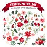 Weinlese-Handgezogenes Weihnachtsbotanischer Laub-Satz lizenzfreie abbildung