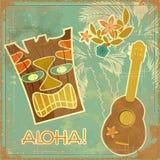 Weinlese-Hawaiianerkarte Stockfotos