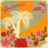 Weinlese-Hawaiianerpostkarte Stockbild