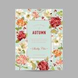 Weinlese-Herbst-und Sommer-Blumenrahmen Aquarell Hortensia Flowers für Einladung, Hochzeit, Babyparty-Karte lizenzfreie abbildung