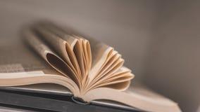 Weinlese-Herz geformtes faltendes Papierbuch stockbild