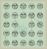 Weinlese Hintergrundkreis Gesichter Stockbilder