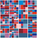 Weinlese-Hippie-geometrisches Muster im Tetris-Art-Vektor Lizenzfreies Stockfoto
