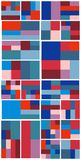 Weinlese-Hippie-geometrisches Muster im Tetris-Art-Vektor Stockbild