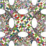 Weinlese-Hippie-Mosaik-geometrischer Muster-Hintergrund-Vektor Stockfotos