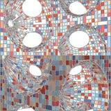 Weinlese-Hippie-Mosaik-geometrischer Muster-Hintergrund-Vektor Stockfoto