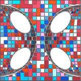 Weinlese-Hippie-Mosaik-geometrischer Muster-Hintergrund-Vektor Lizenzfreies Stockbild