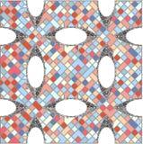 Weinlese-Hippie-Mosaik-geometrischer Muster-Hintergrund-Vektor Stockfotografie