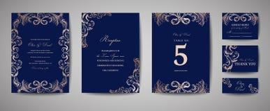 Weinlese-Hochzeits-Abwehr das Datum, Einladungs-Karten lizenzfreie abbildung