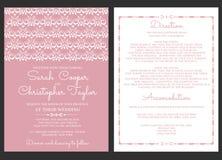 Weinlese-Hochzeits-Einladungs-Karten-Einladung mit Verzierungen vektor abbildung