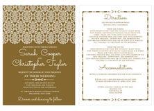 Weinlese-Hochzeits-Einladungs-Karten-Einladung mit Verzierungen Lizenzfreies Stockfoto