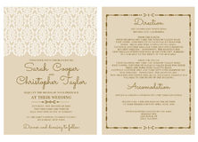 Weinlese-Hochzeits-Einladungs-Karten-Einladung mit Verzierungen Stockfotografie