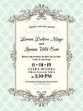 Weinlese-Hochzeitseinladungsgrenze und -rahmen lizenzfreie abbildung