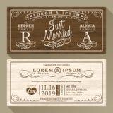 Weinlese-Hochzeitseinladungsgrenze und Rahmenschablone Stockbilder