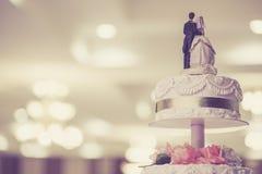 Weinlese-Hochzeitstorte Stockfotos