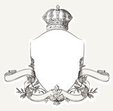 Weinlese-königlicher Kamm mit Schild, Krone und Banne Lizenzfreies Stockfoto