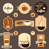 Weinlese-Kaffee-Auslegung-Elemente Stockfoto