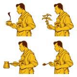 Weinlese-Kaffee-Tinten-Zeichnung Stockfotografie